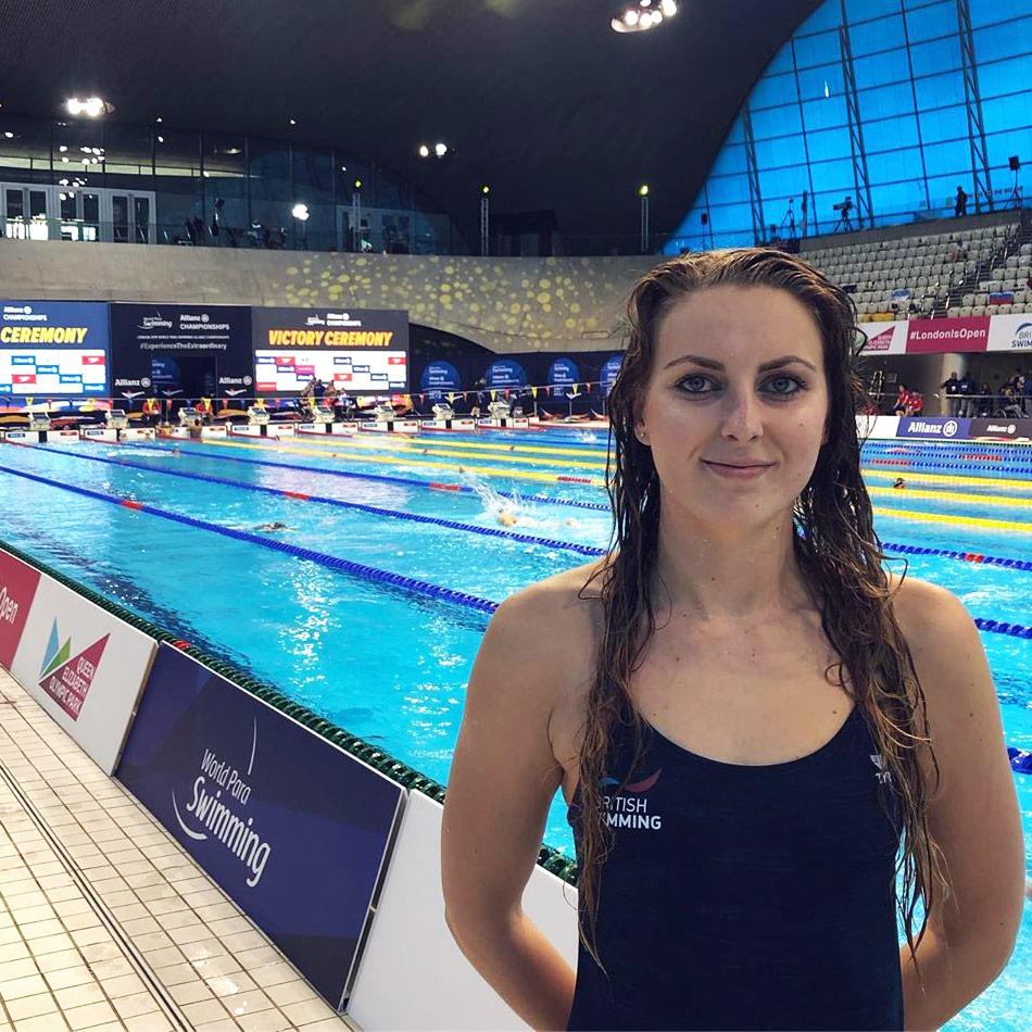 British Para swimmer and World champion Jessica-Jane Applegate standing poolside at the 2019 London World Para Swimming Championships