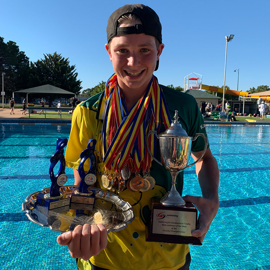 Young Australian Swimmer Jordy martin hold numerous medals and trophy's after competing.