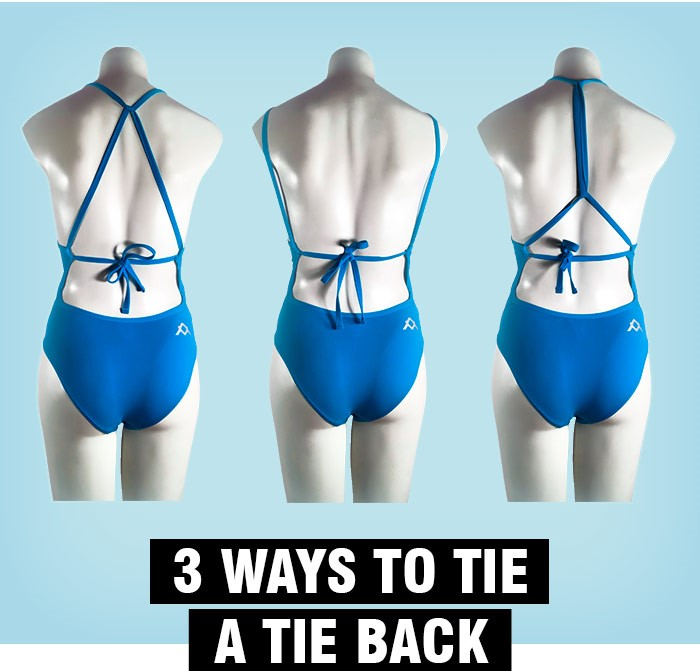 3 different ways to tie up a Tie Back Swim style are displayed on mannequins