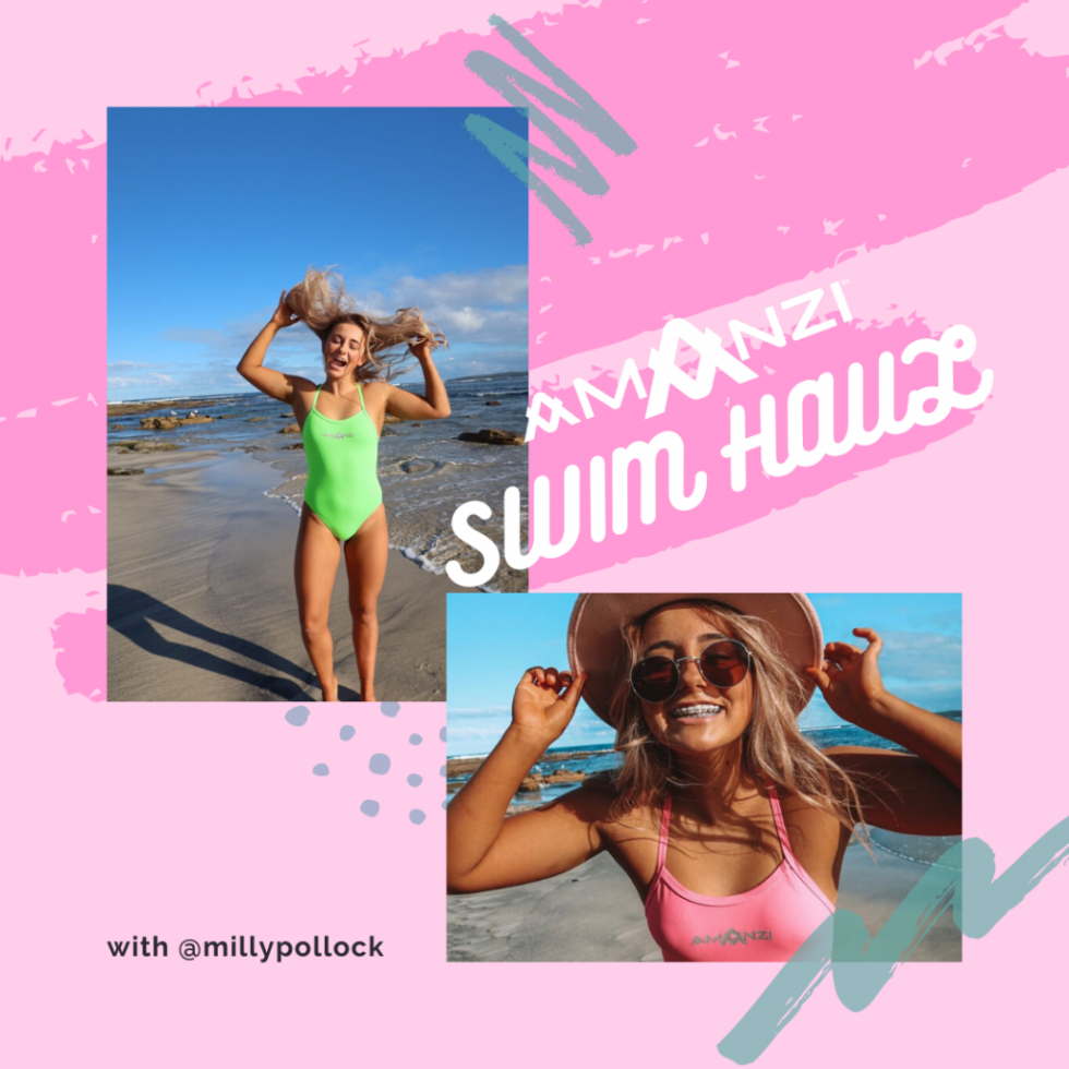 Milly Pollock shares some major swimspo with 8 AMANZI swim styles, including AMANZI swim accessories!